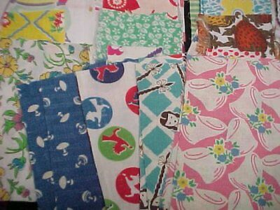 BEST 56 Vintage Novelty Feedsack Fabric Quilt 1940s Scraps Flour Sack Remnants