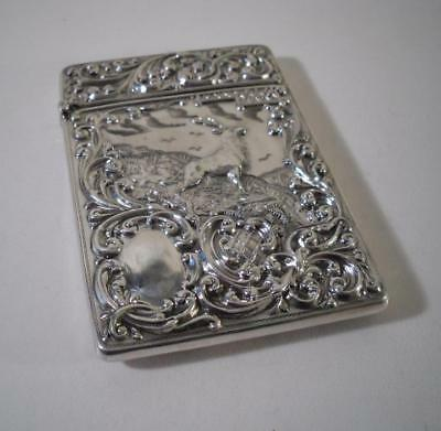 A Rare 'Monarch Of The Glen' Silver Card Case : Birmingham 1908