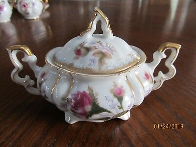 Covered Sugar Bowl ~ Fern Moss Rose Pattern And Lots Of Gold Gild ~ Exc Cond