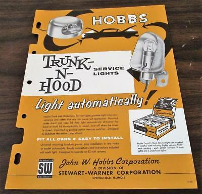 Vintage 1961 Stewart Warner Hobbs Trunk-N-Hood Service Lights Dealer Brochure M