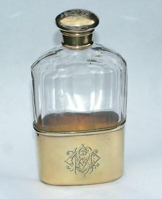 Stunning Antique Sterling Silver Gilt Spirit Hip Flask Hm 1889 Frederic Purnell