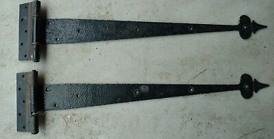 Pair of Antique Rusty Wrought Iron Hinges Hand Forged COLONIAL 1800's