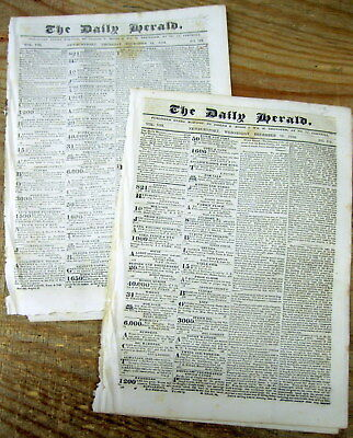 2 1839 newspapers WHIG PARTY nominates WILIAM HENRY HARRISON for US PRESIDENT