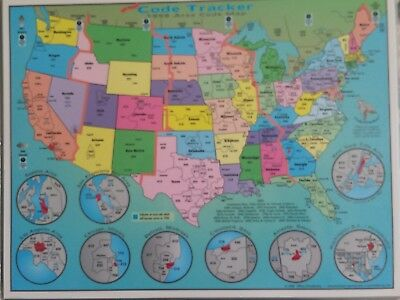 "1998 United States Laminated Full Color Area Code Zones Tracker Map 8.5"" x 11"""