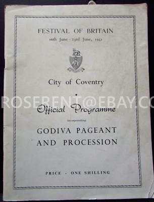 1951 Coventry -Lady Godiva Pageant  & Procession& Festival of Britain programme