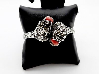 Old Chinese Export Sterling Silver Coral Double Head Quilin Dragon Cuff Bracelet