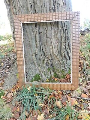 c1900 Antique TRAMP ART Large Wood Relief Picture Frame