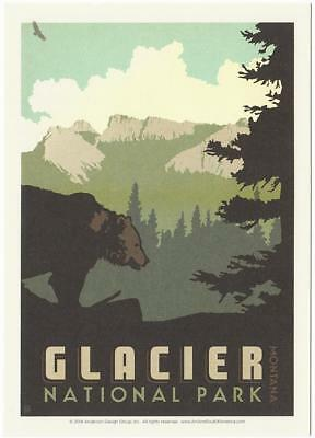 Postcard of Glacier National Park Montana Travel Poster Style Postcard