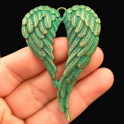 F43120 Carved Brass Bronze Heart Wing Pendant Bead 68x46x4mm