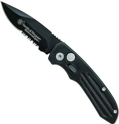Smith & Wesson Black Extreme Ops Push Button Lock Folding Knife 7Cr17MoV SW40BS