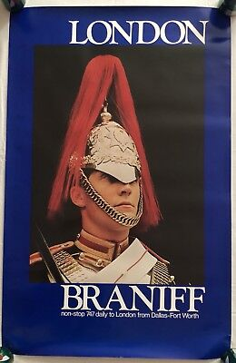 Vintage Braniff 747 Non-Stop Dallas-Fort Worth to London Travel Poster