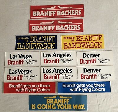 Lot of 13 Vintage Braniff Bumper Stickers
