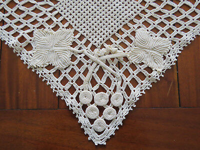 Unusual Vintage Crochet Doily with Applied Grapes and Leaves 31cm square..
