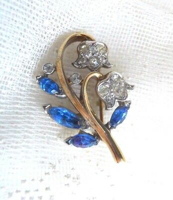 CROWN TRIFARI Littlest LILLY OF THE VALLEY Rhinestone Brooch Pin