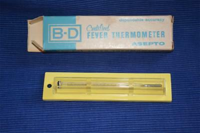 B-D fever Thermometer ASEPTO Glass Wil-Gard Case easy read  vintage 1964