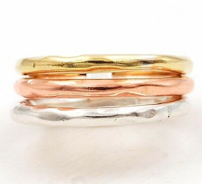 Three Tone- Handmade Hammered Band 925 Sterling Silver Ring Jewelry Sz 7