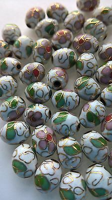 200+ Vintage Cloisonne 9x7mm Oval Eggs—White with Pink and Green Floral Accent