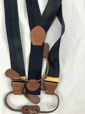 Made In USA Adjustable Green Blue Stripe Silk  Leather Button Suspenders Braces