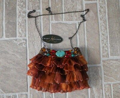 """Nwt Designer Mary Frances """"gorgeous"""" Turquoise Rock Out Hand Beaded Purse"""