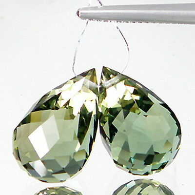 27.65 Ct Matching! Briolette [Drilled] Green Amethyst