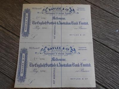 C 1930 The English Scottish Australian Bank Limited cheques Baylee Melbourne