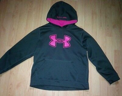 Under Armour Girls Gray Pink Hoodie Sweatshirt Top Size Ylg Youth Large