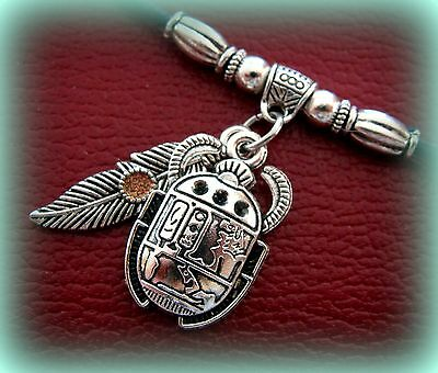 EGYPTIAN Pendant Necklace Jewelry ART DECO Antique look SCARAB Beetle w/ Feather