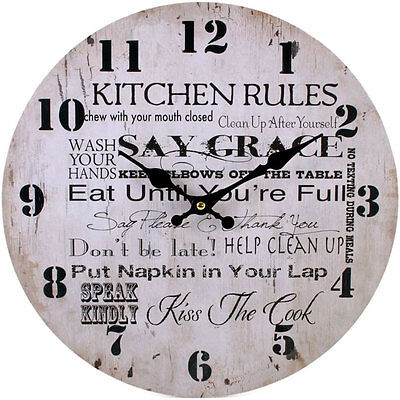 Beautiful Large Shabby Chic Circular Wooden Wall Clock~Kitchen Rules~10~uk