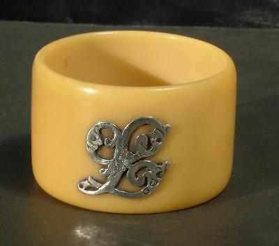 """Antique Victorian Silver Mounted Letter """"l"""" Napkin Ring Hm 1896 Henry Williamson"""