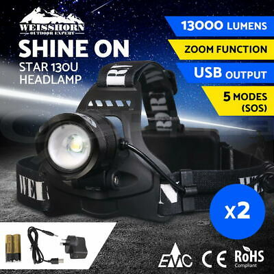 2X WEISSHORN LED Headlamp Rechargeable Head Torch Light Flashlight XML T6 R5