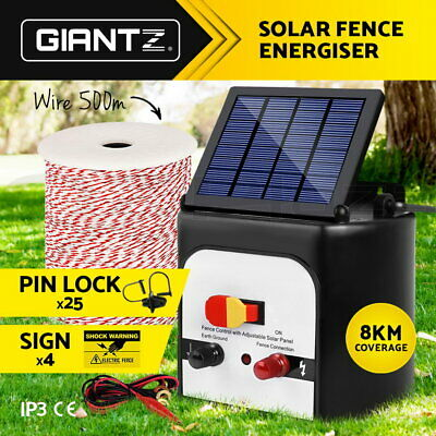 Giantz 8km Solar Powered Electric Fence Energiser Battery Energizer Charger Tape