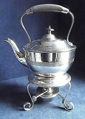 GOOD Large ~ SILVER Plated ~ Spirit KETTLE on Stand ~ c1900