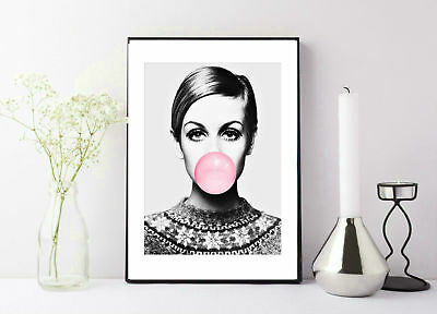 black and white Twiggy Bubble gum photography print/poster