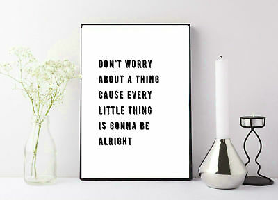 Bob Marley quote don't worry be happy print poster