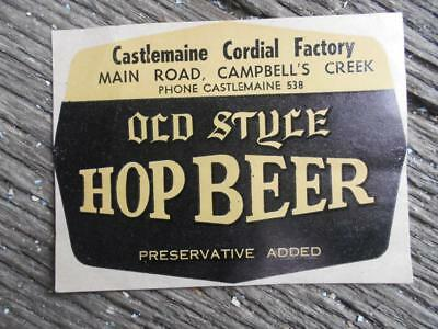 Old Style Hop Beer Castlemaine cordial factory Campbells creek bottle label