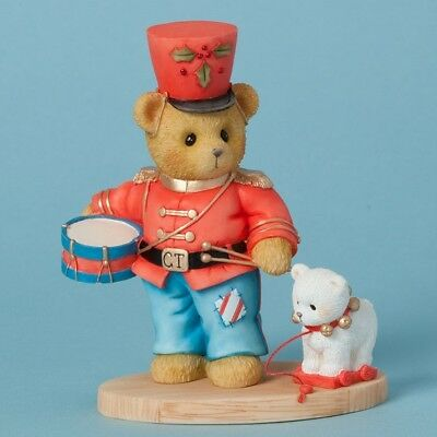 Cherished Teddies Marching Toward a Merry Christmas Toy Soldier Figurine 4040466