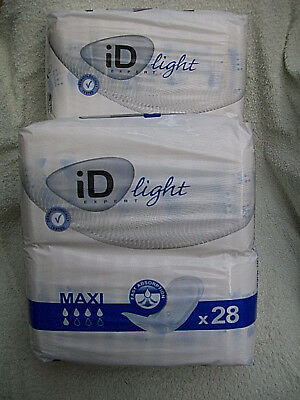 2 X Packs of 28 ID Light Maxi Incontinence Pads