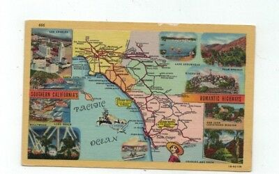 """CA Southern California antique linen Map Post Card """"Romantic Highways"""""""