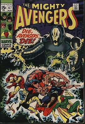 Avengers #67  Aug 1969 Vs Ultron Great Cover Barry Smith Art White Pages