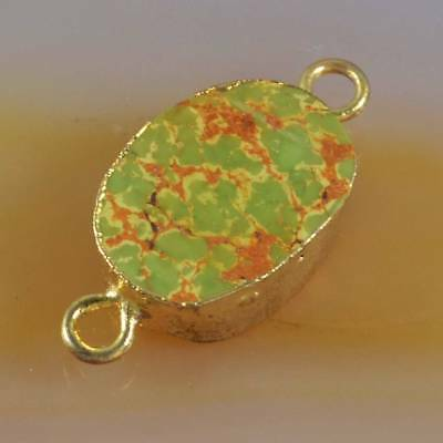 14x11mm Natural Genuine Turquoise Connector Gold Plated H120749