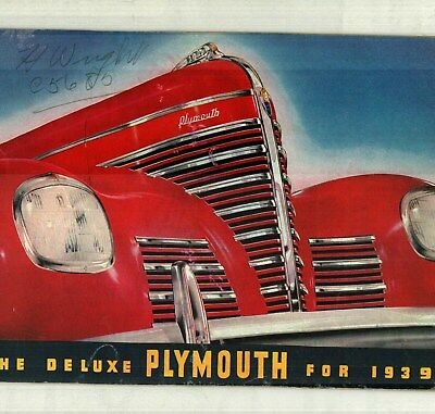 1939 Deluxe Plymouth Factory Issued Color Sales Catalog