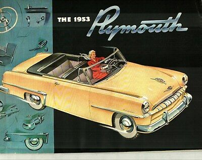 1953 PLYMOUTH CRANBROOK and CAMBRIDGE DELUXE COLOR SALES CATALOG