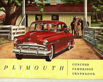 1951 PLYMOUTH CRANBROOK, CAMBRIDGE and CONCORD DELUXE COLOR SALES CATALOG