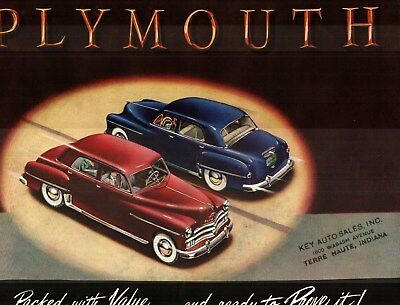 1950 PLYMOUTH DELUXE and SPECIAL DELUXE PRESTIGE COLOR SALES CATALOG
