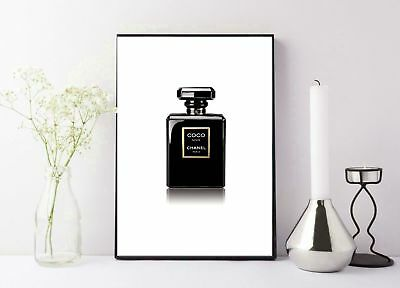 black coco chanel perfume bottle photography print/poster