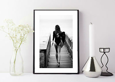Surf Poster Black and White * Aerial Beach Photo Surf Print Chanel Surf Board