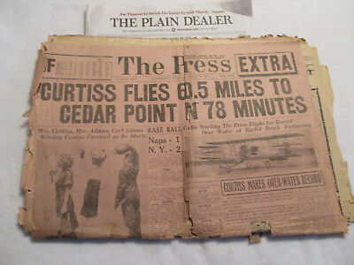 GLENN CURTISS flies by Cleveland  AIRPLANES 1910 Old Newspaper inventor Wright