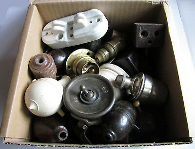 BOX OF VINTAGE ELECTRICAL FITTINGS - Vintage Bakelite Switch Socket Plug etc