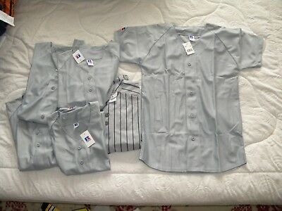 Russell Athletic lot of 6 youth L baseball jerseys grey NWT