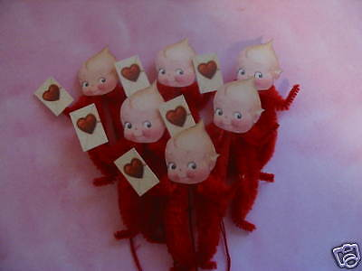 Primitive Vintage Style Valentine Kewpie Ornaments Chenille Feather Tree